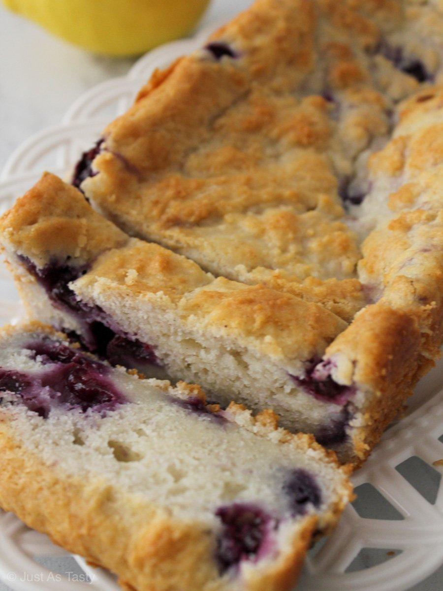 Sliced lemon blueberry loaf.