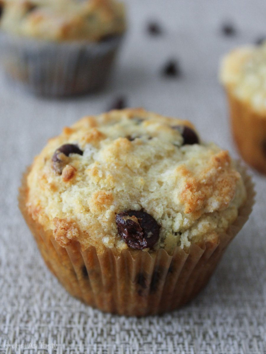 Close-up of a gluten free chocolate chip muffin.