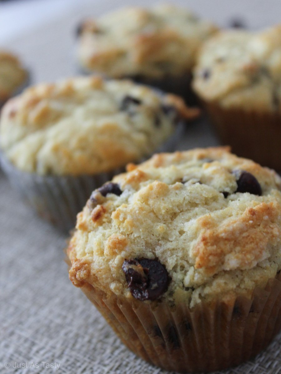Close-up of gluten free chocolate chip muffin.