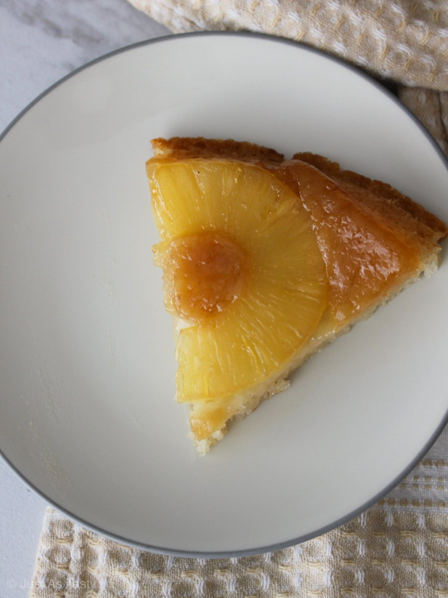 Slice of easy pineapple upside down cake.