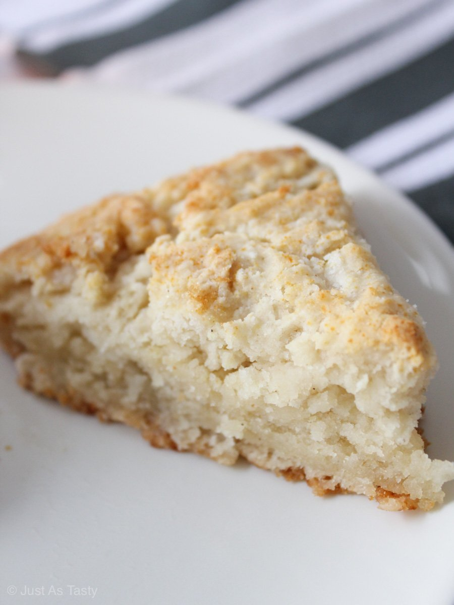 Close-up of eggless scone on a white plate.