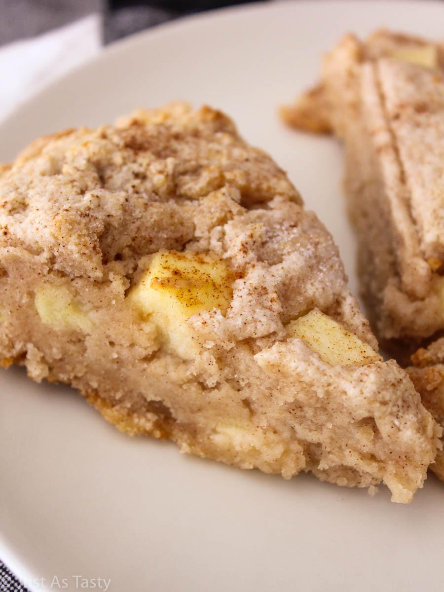 Close-up of an apple cinnamon scone.