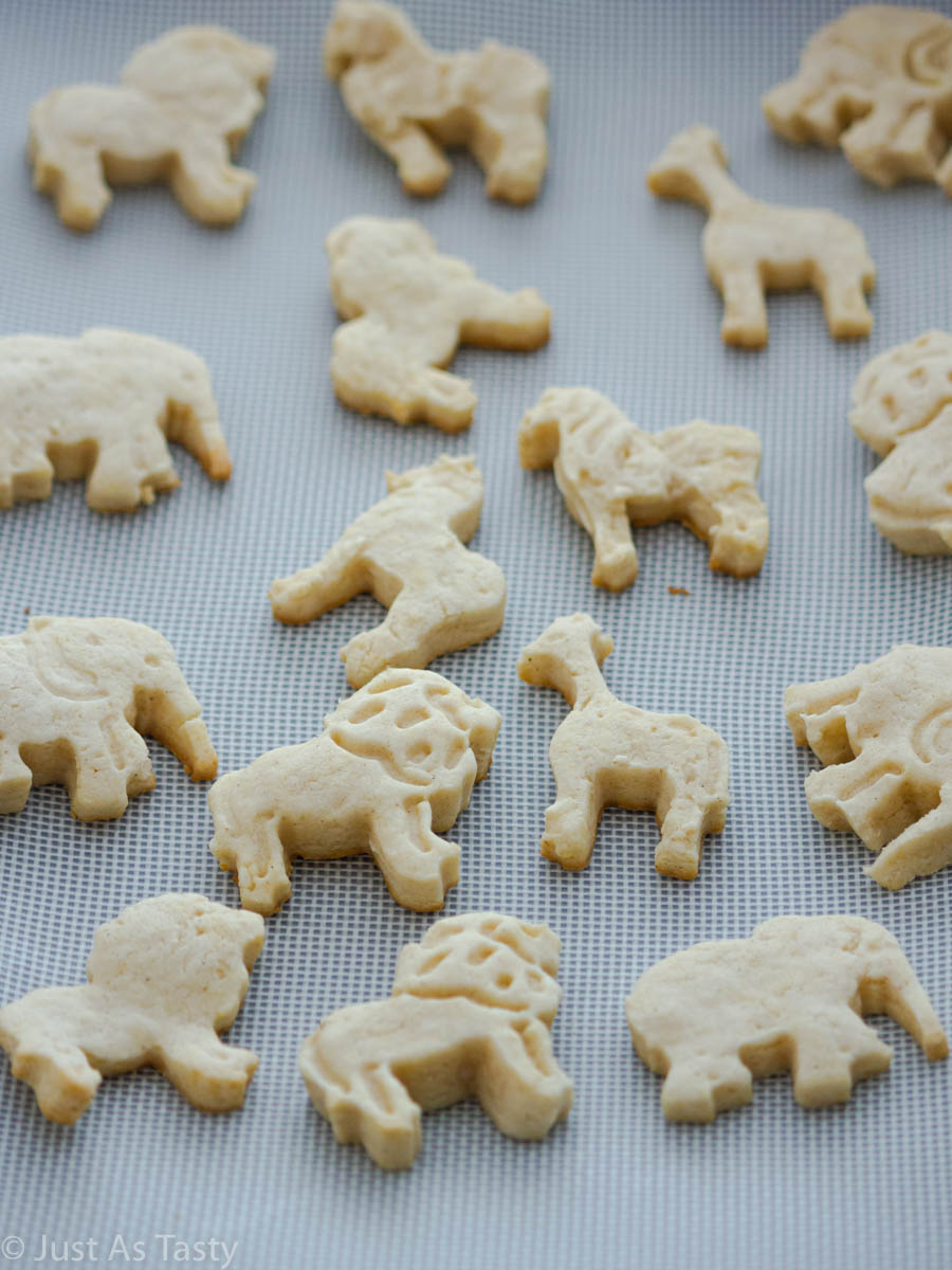 Undecorated circus animal cookies on a baking sheet.