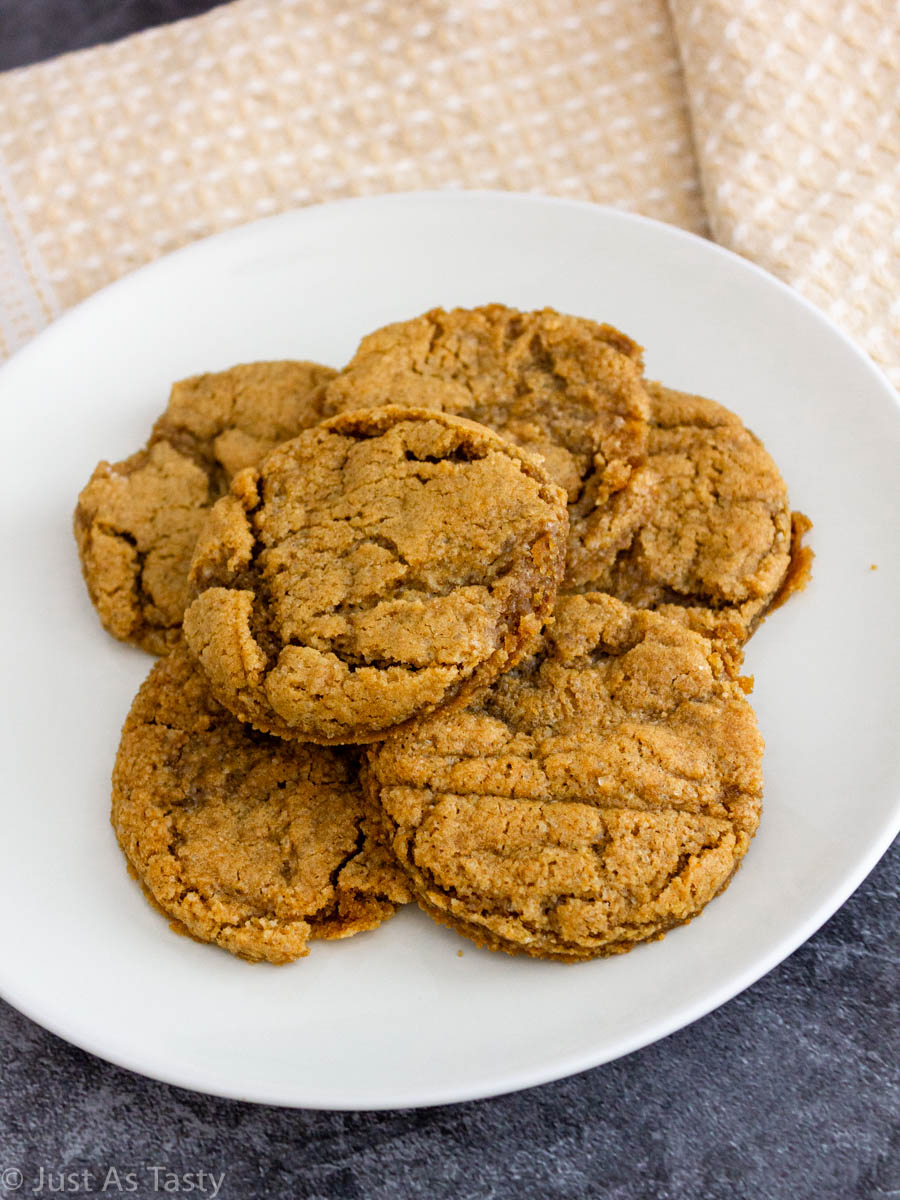 Gluten free maple cookies on a white plate.