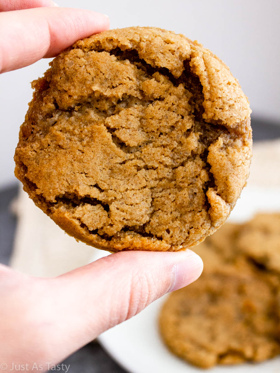 Close-up of a round maple cookie.