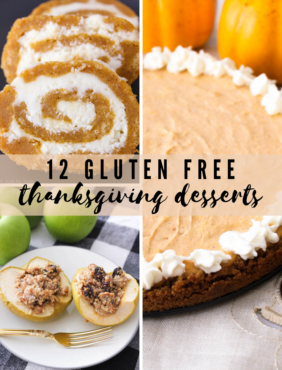 Collage of Thanksgiving dessert images, including pumpkin roll, pumpkin cheesecake, and baked apples.