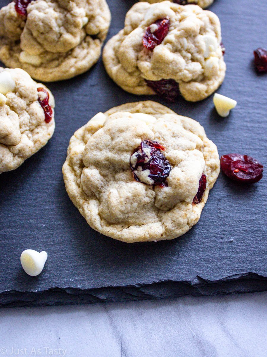 Close-up of a white chocolate cranberry cookie.