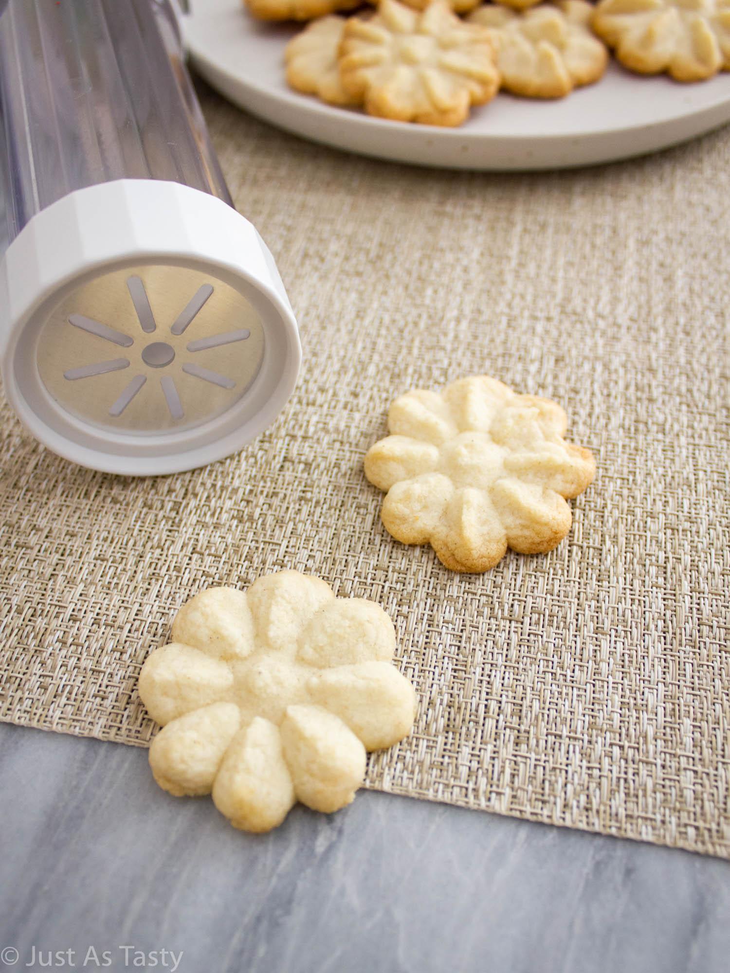 Flower shaped butter spritz cookies.