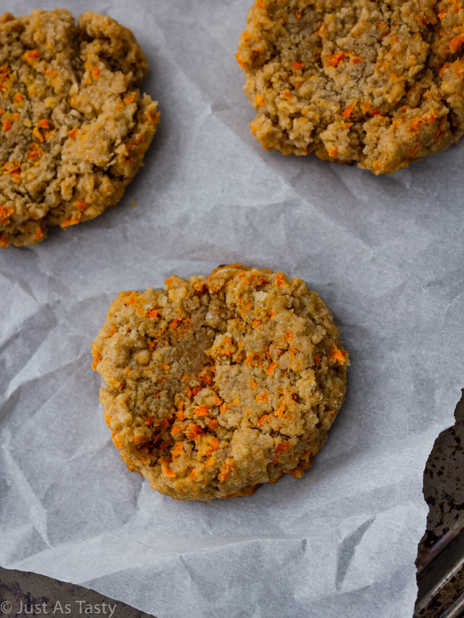 Close-up of carrot breakfast cookies.