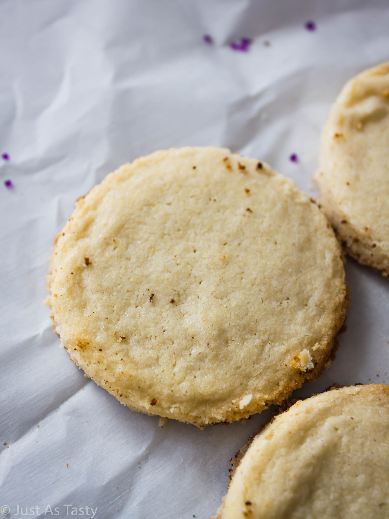Close-up of a lavender shortbread cookie.