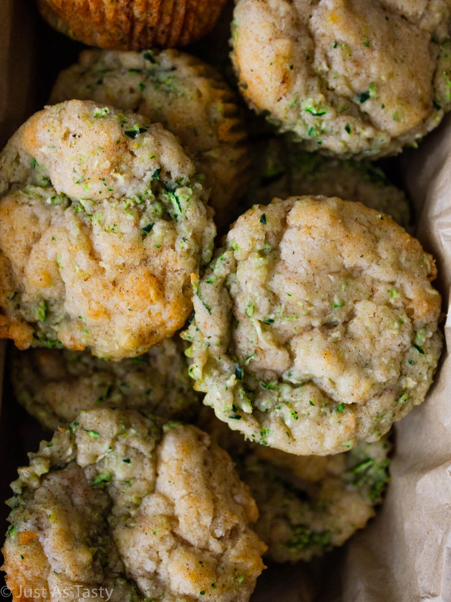 Close-up of gluten free zucchini muffins.
