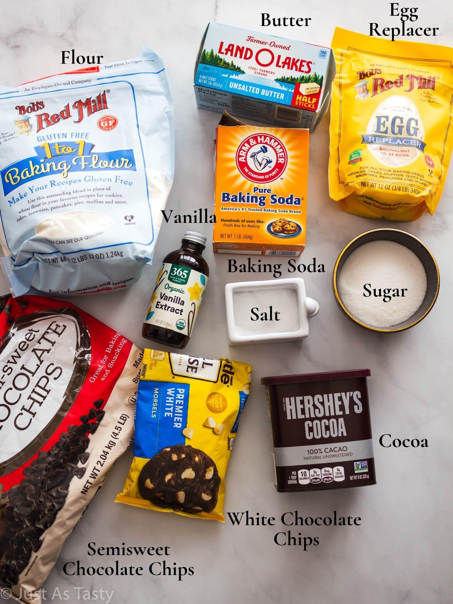 Triple chocolate cookie ingredients.