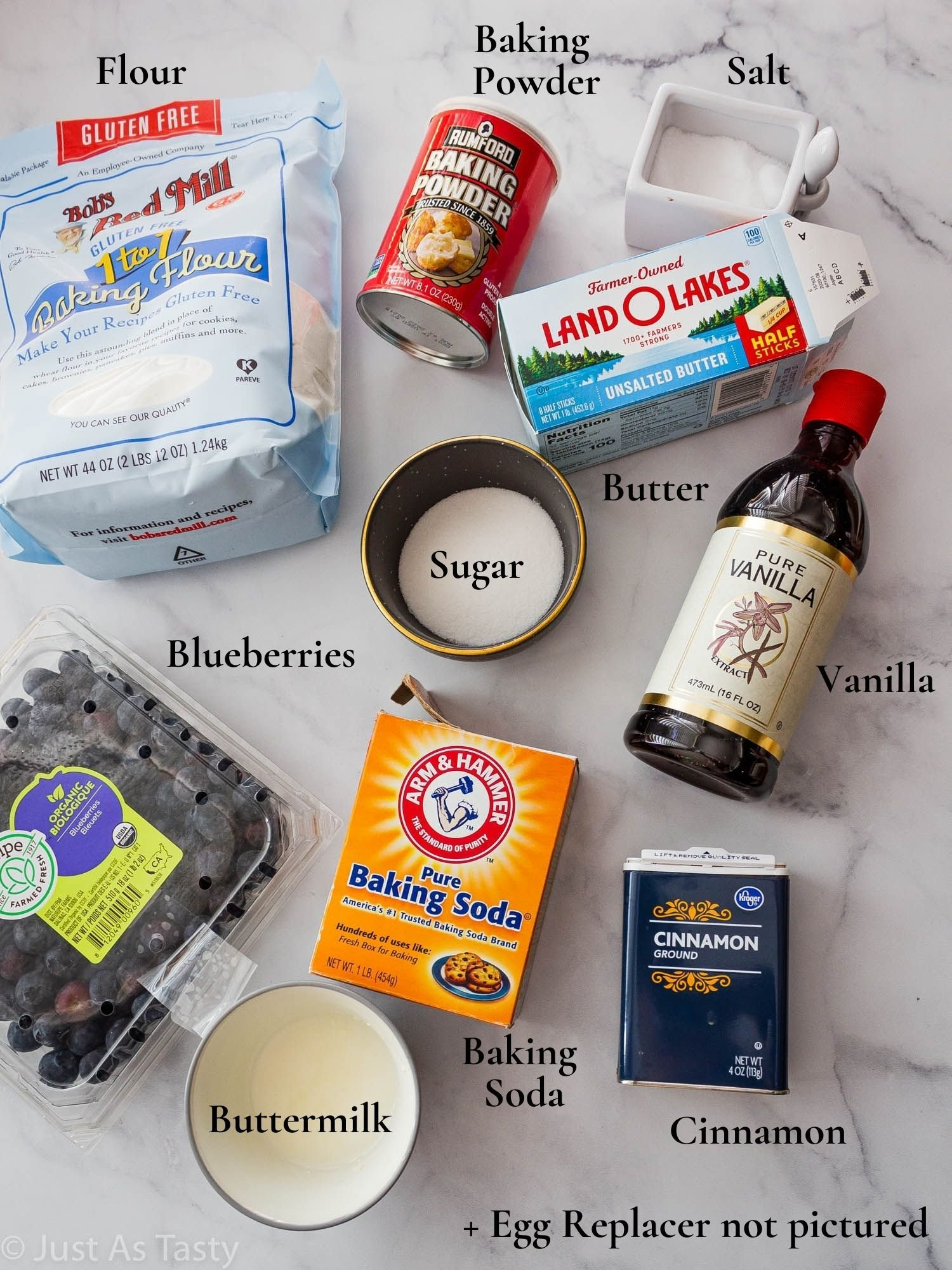 Blueberry muffin ingredients.