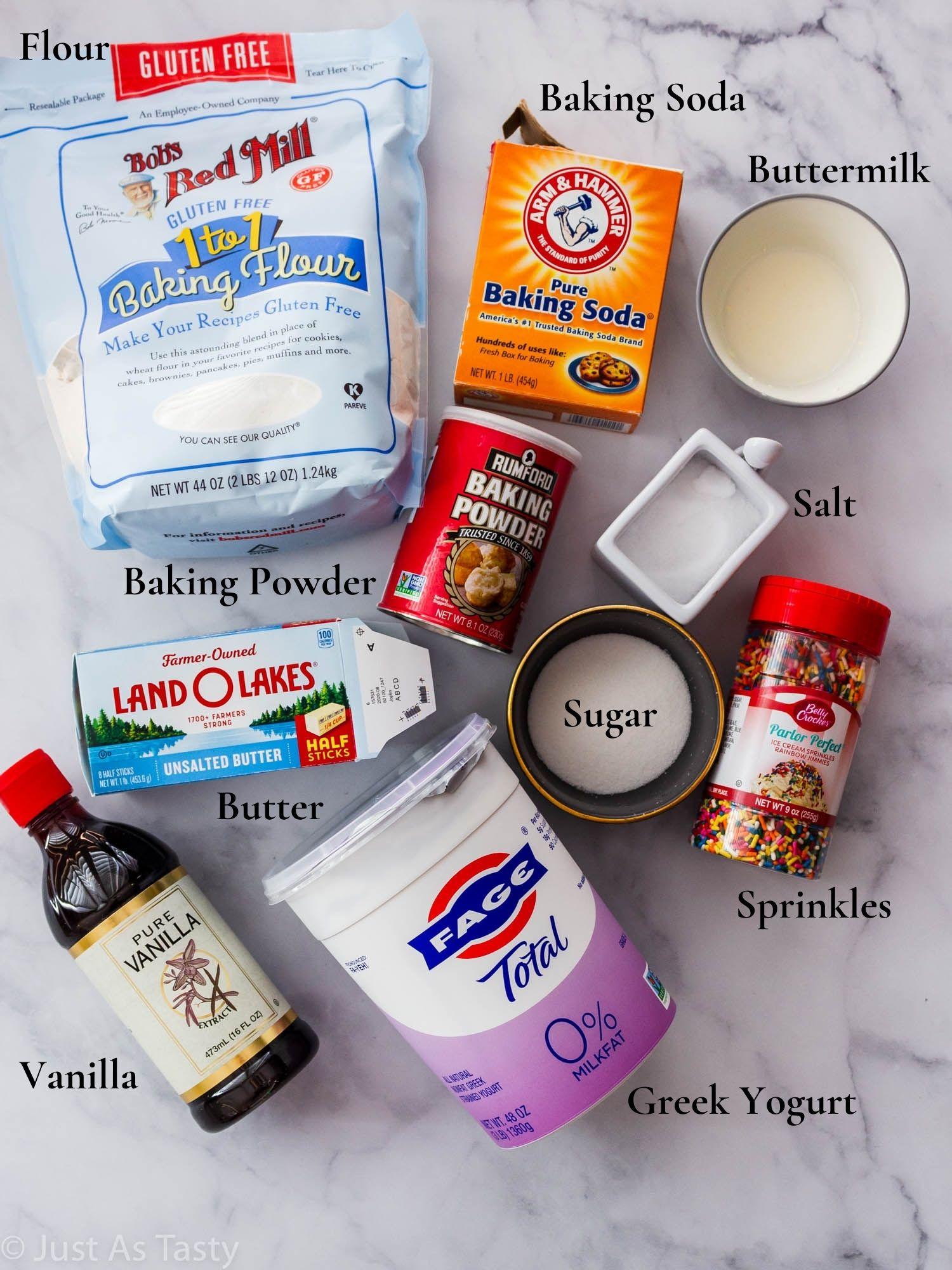 Funfetti cake ingredients.