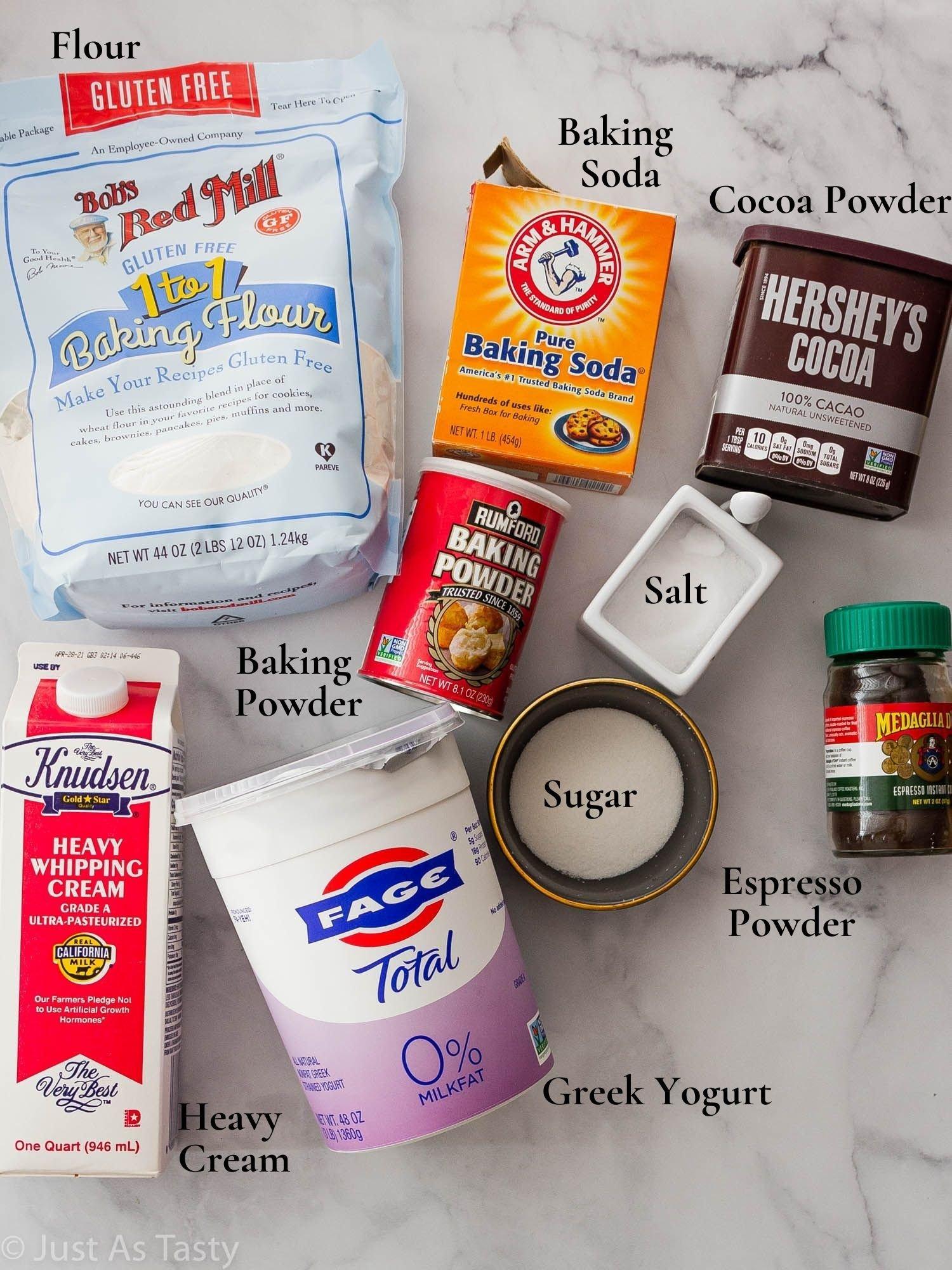 Mocha roll cake ingredients.