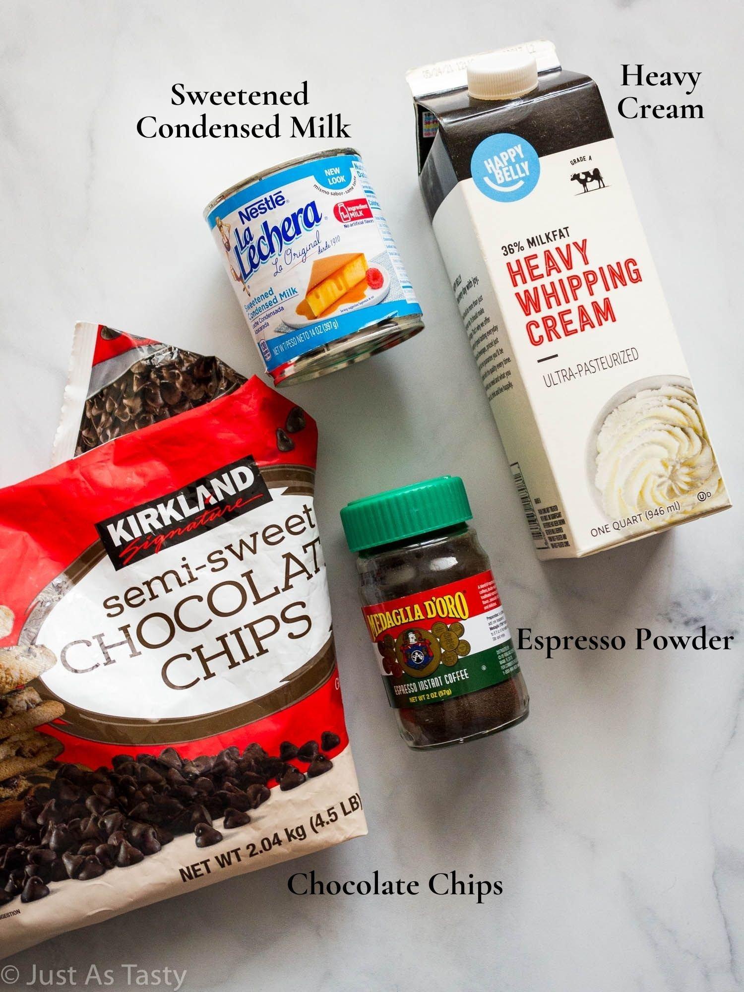 Coffee ice cream ingredients.
