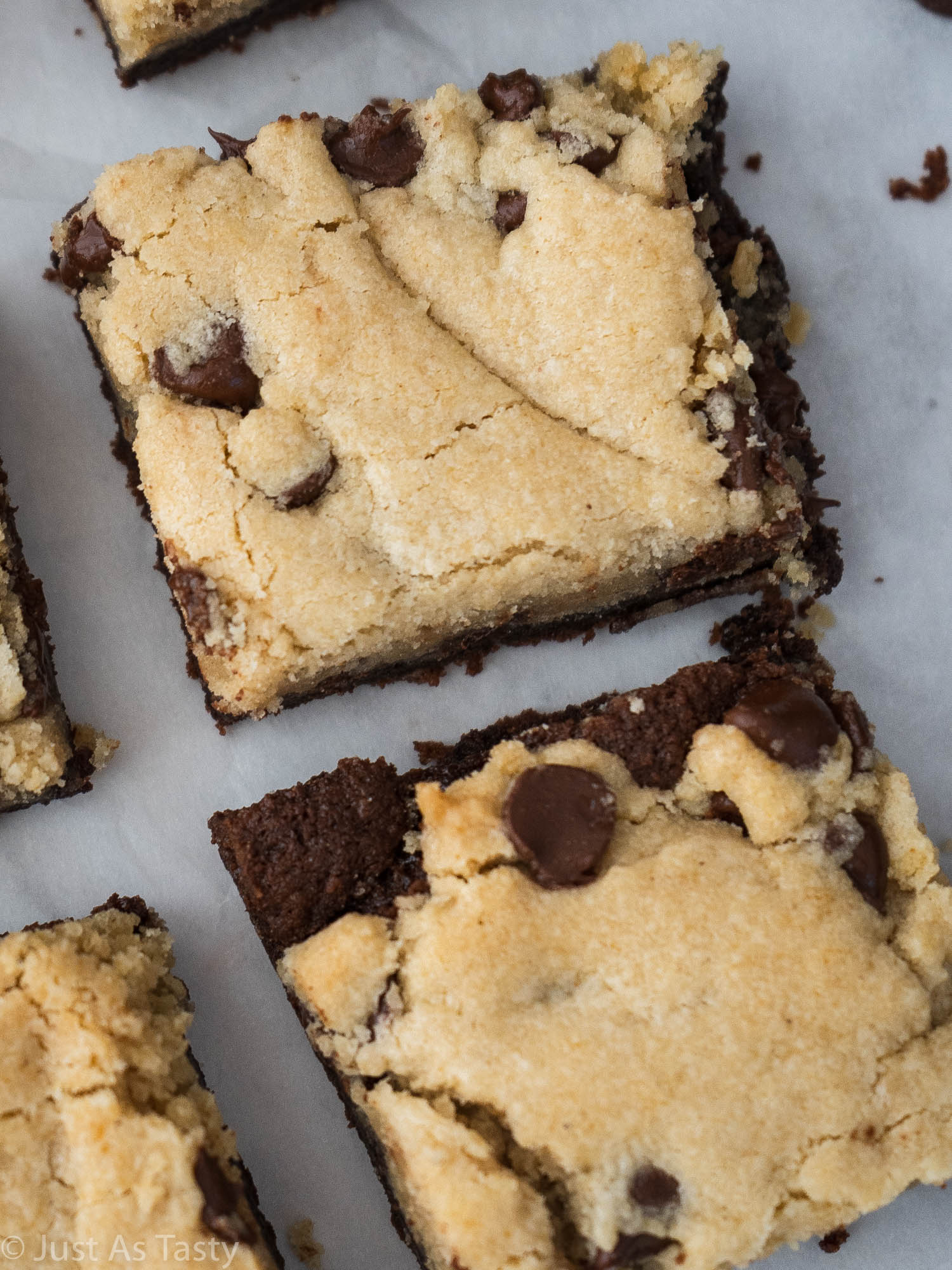 Close-up of a chocolate chip cookie brownie bar.