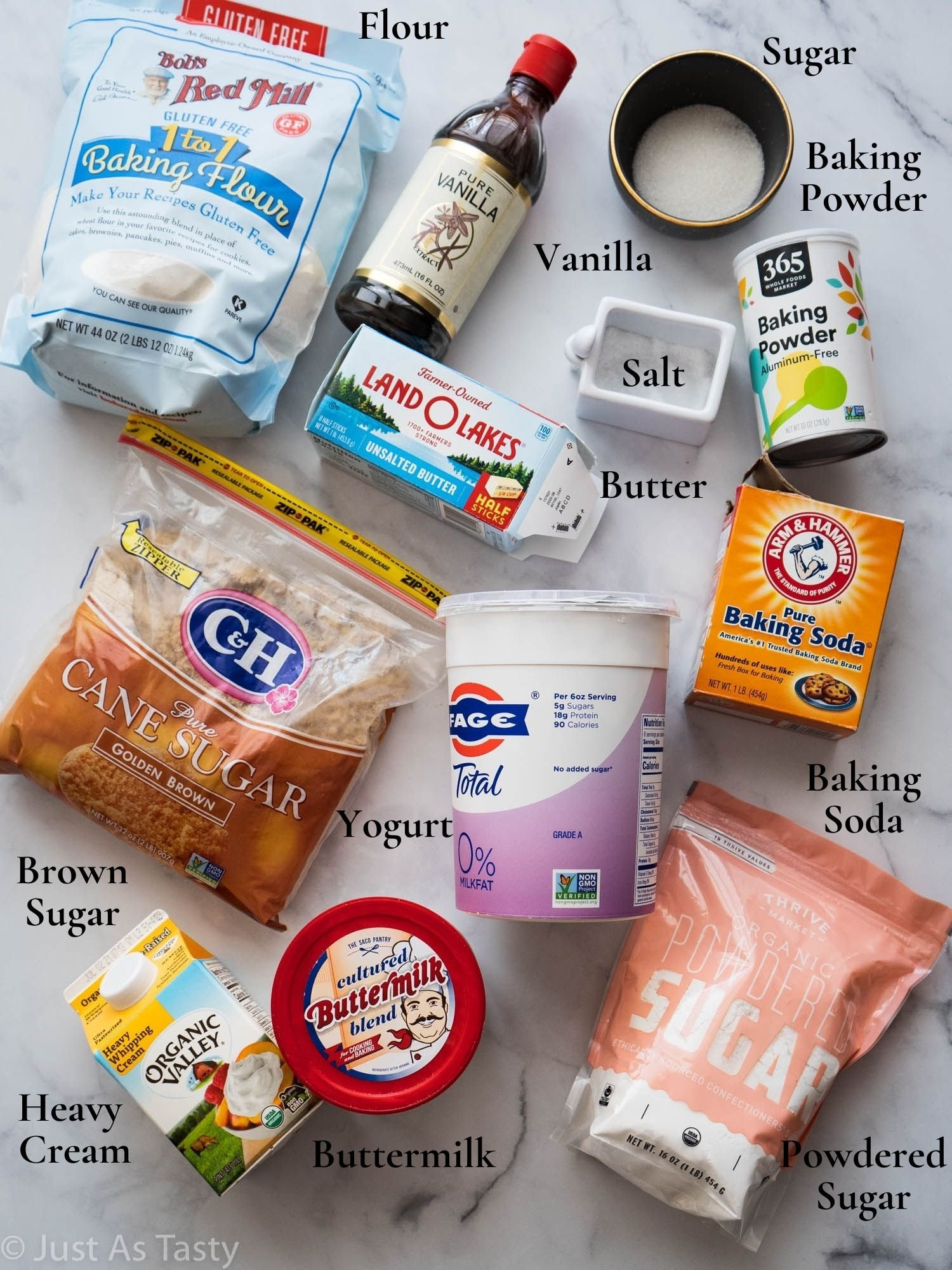 Butterscotch cake ingredients.