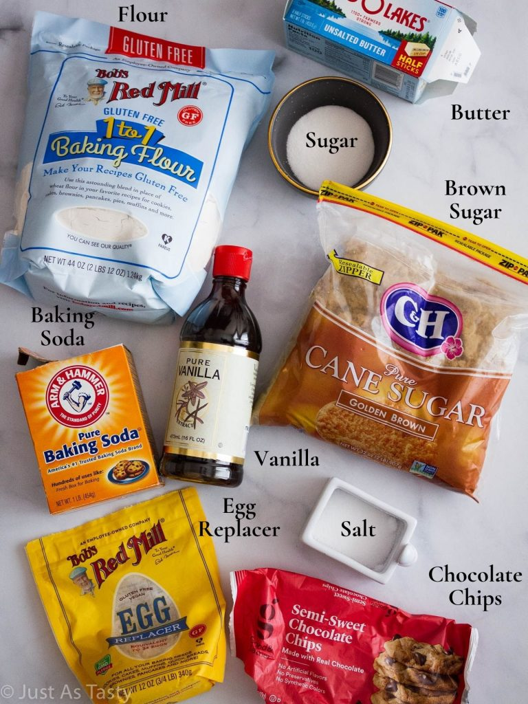 Chocolate chip cookie ingredients.