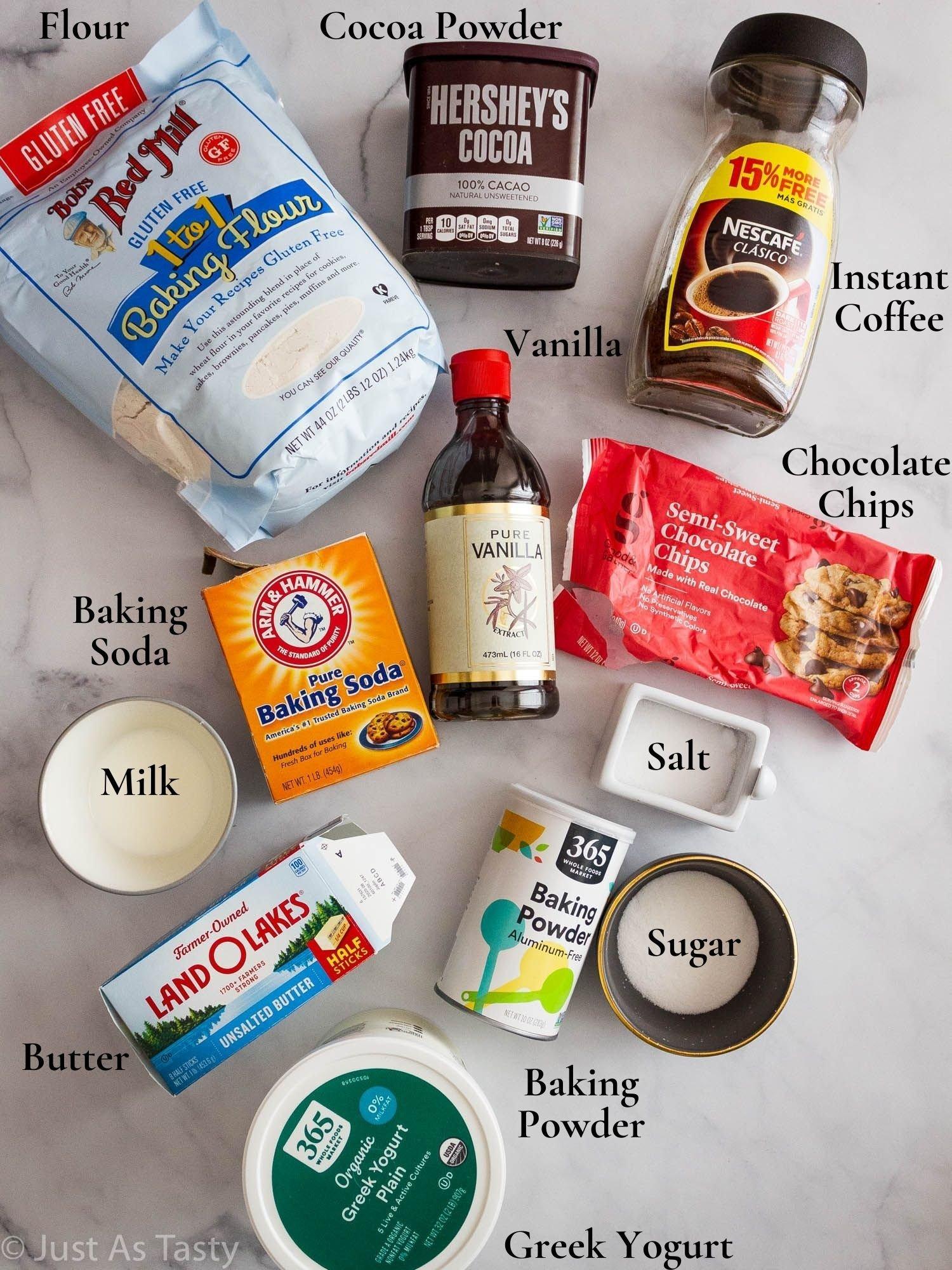 Baked coffee donut ingredients.