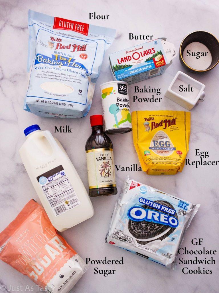 Oreo cupcake ingredients.