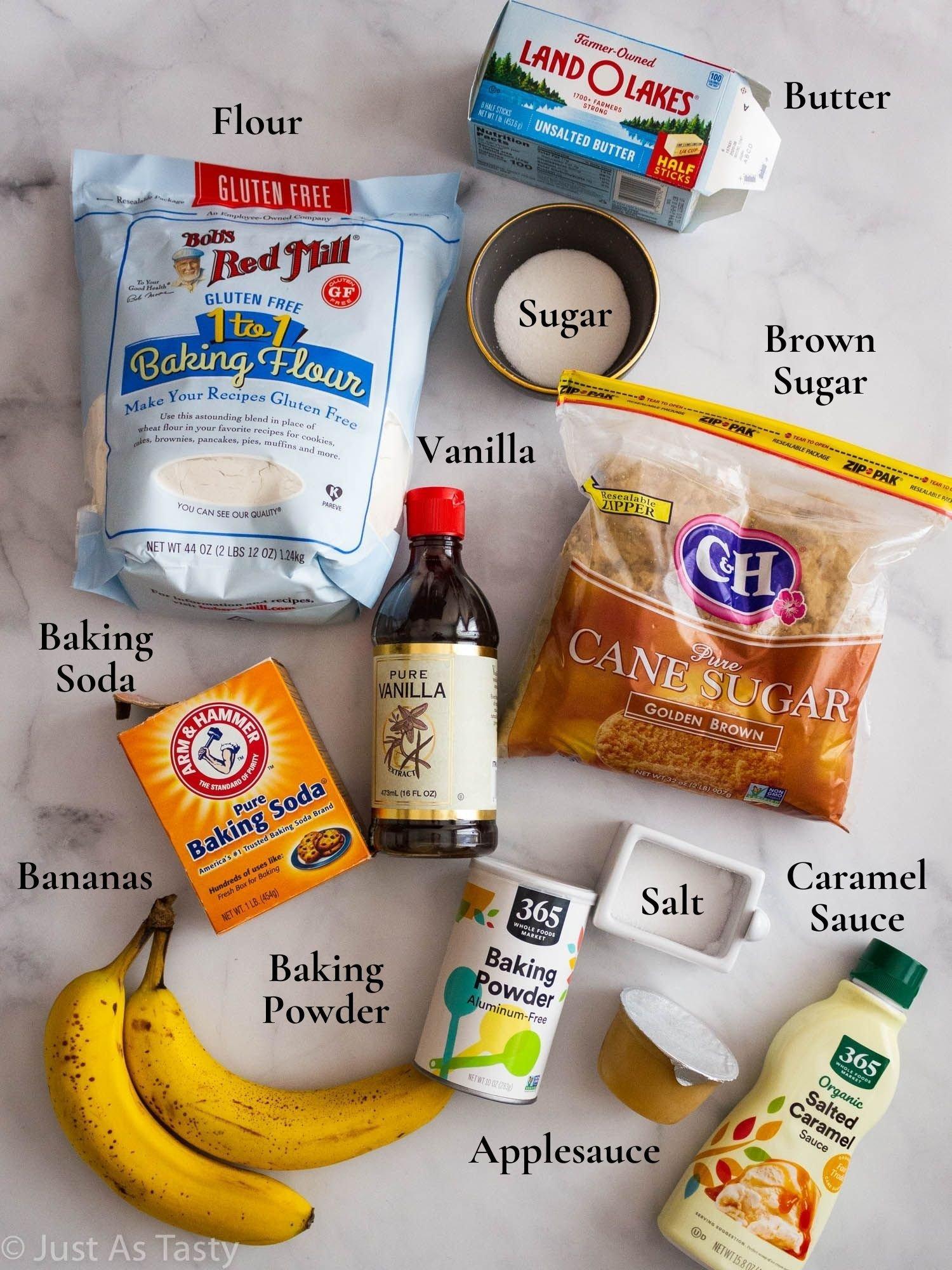 Salted caramel banana bread ingredients.