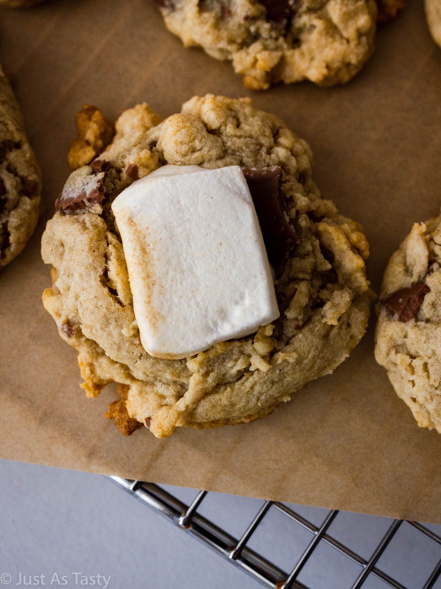 Close-up of a s'mores cookie topped with a marshmallow.