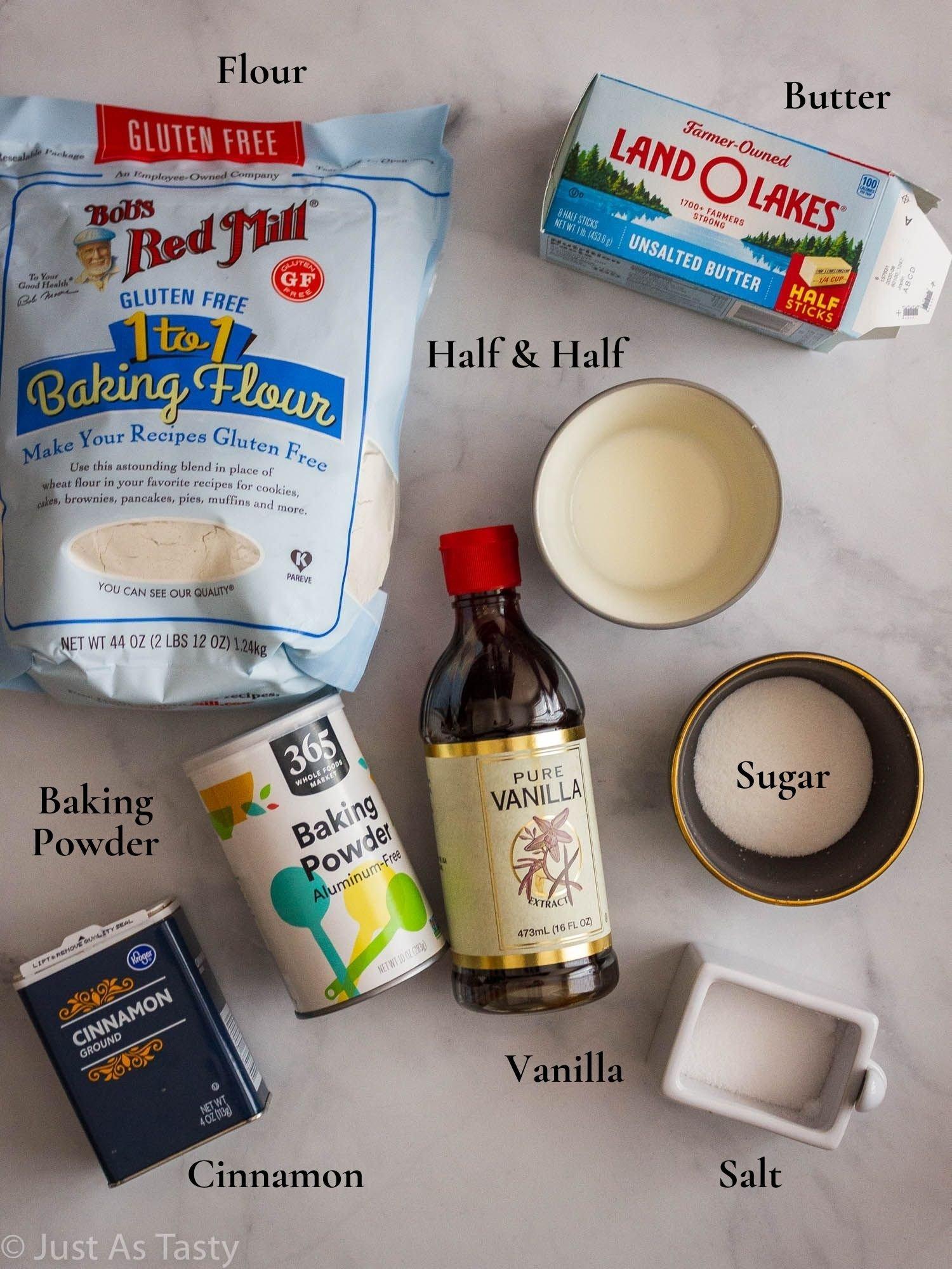 Snickerdoodle mug cake ingredients.