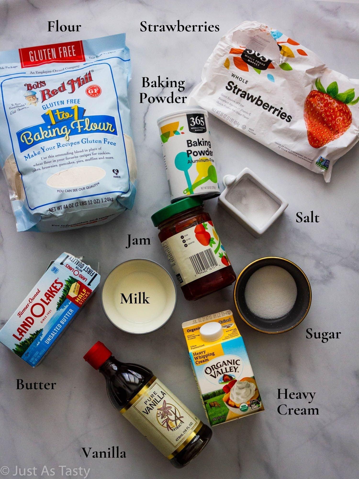 Strawberry shortcake ingredients.