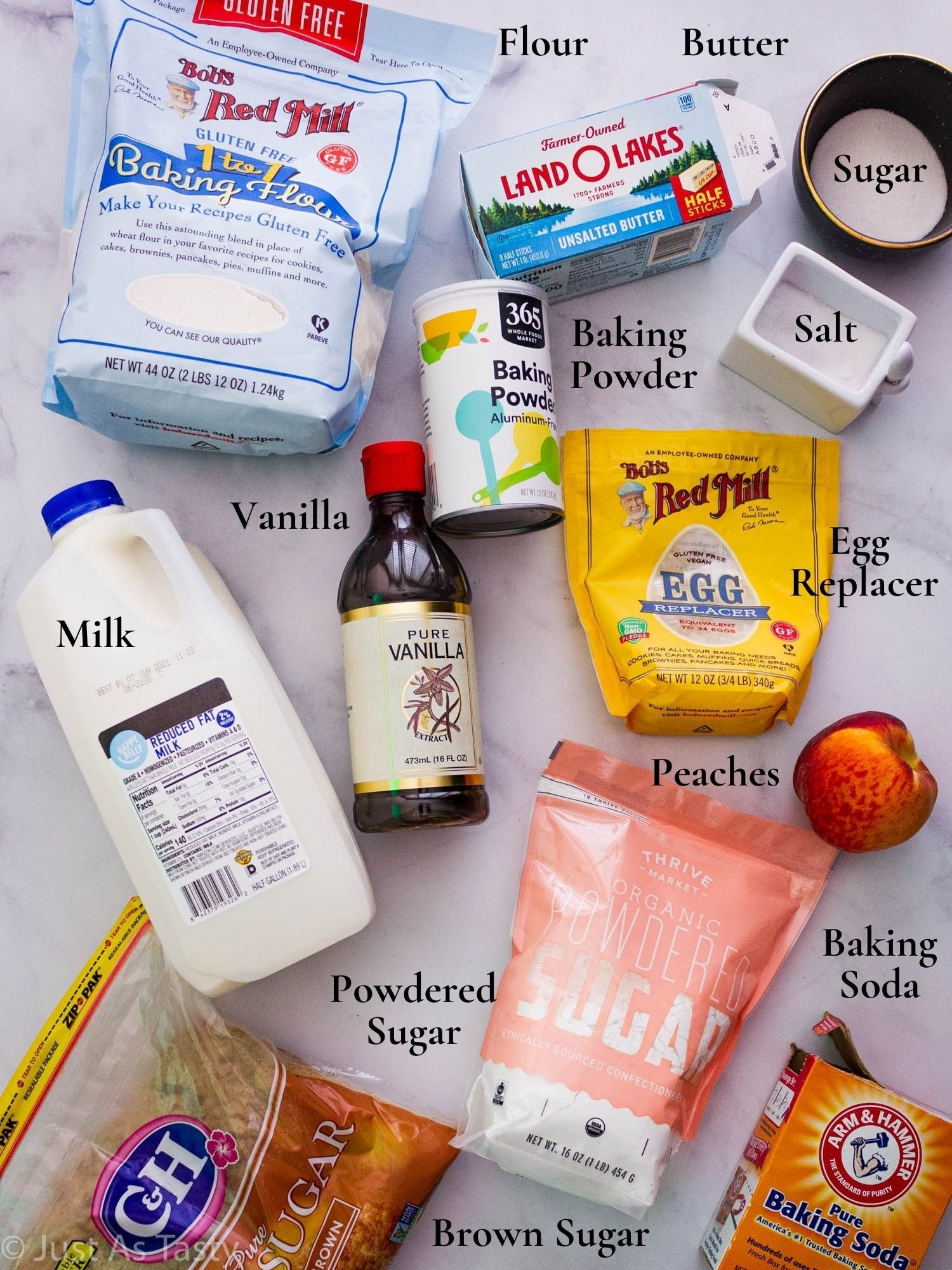Ingredients for peach cobbler cookies.