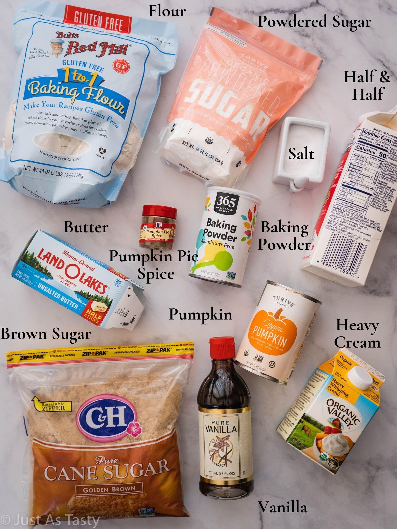 Pumpkin scone ingredients.