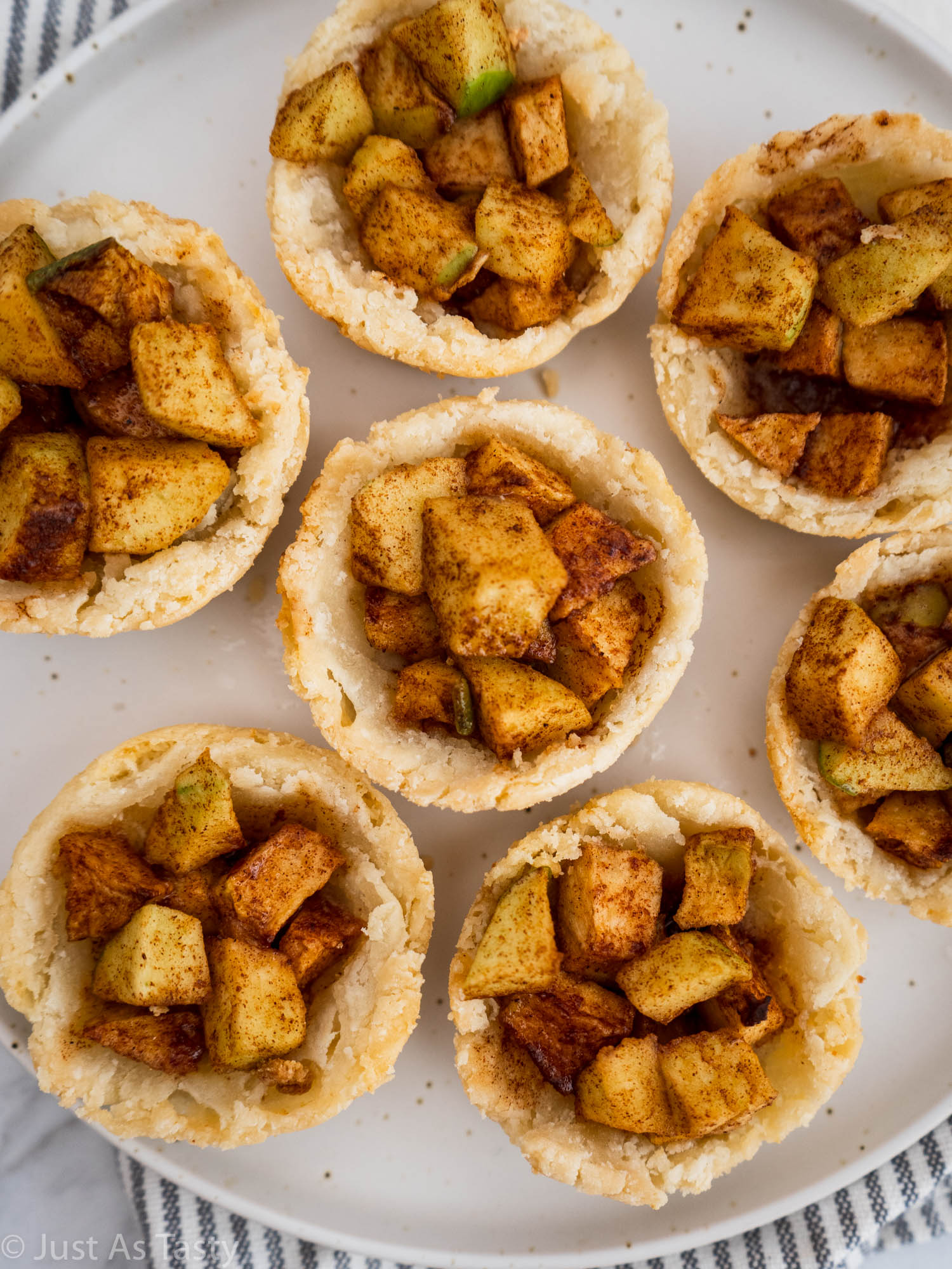 Close-up of mini apple pies.