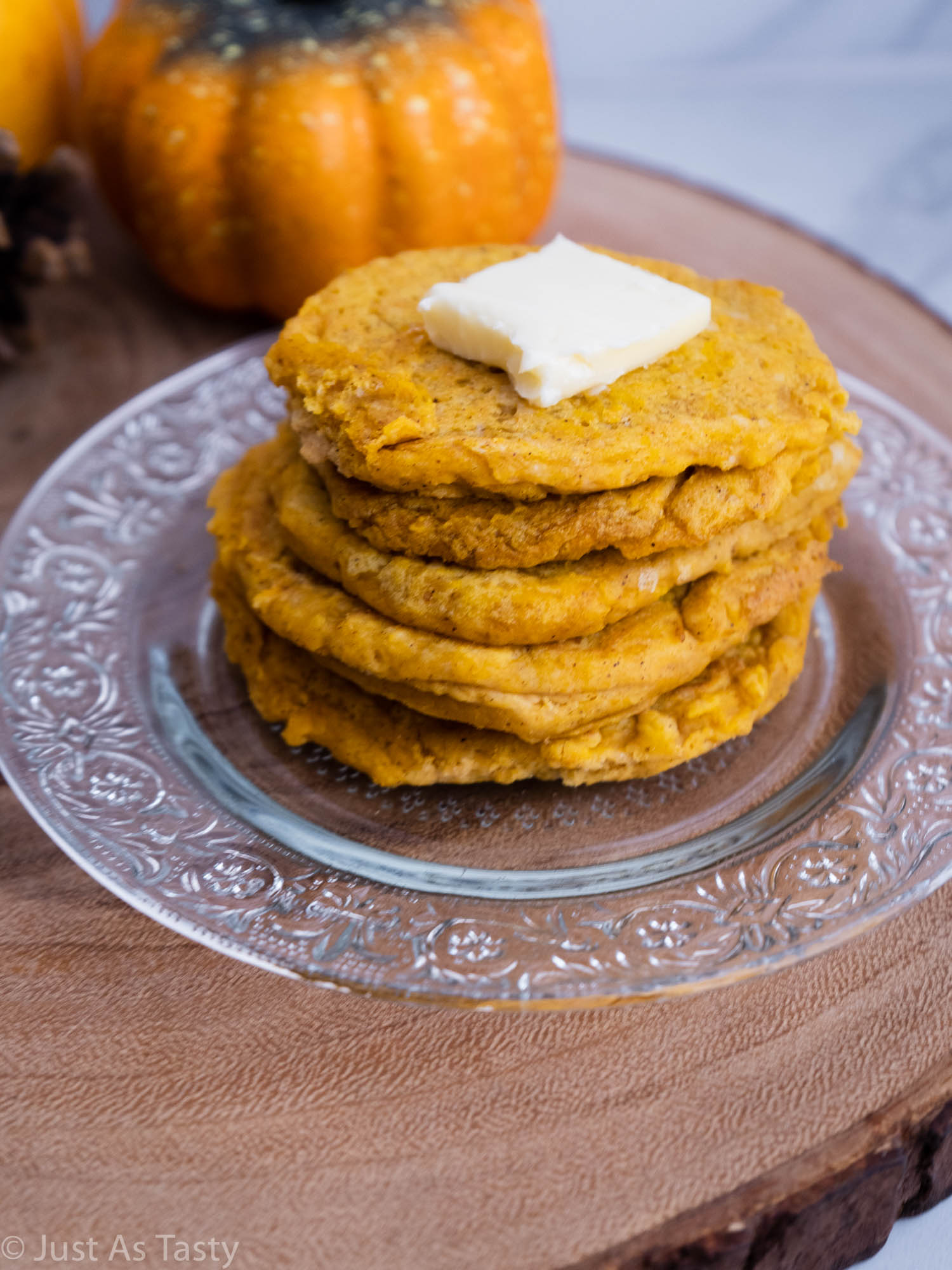 Close-up of a stack of pumpkin pancakes.