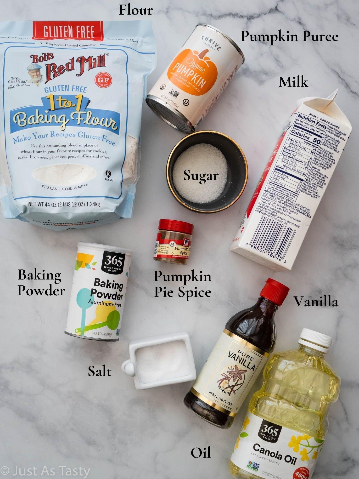 Pumpkin pancake ingredients.